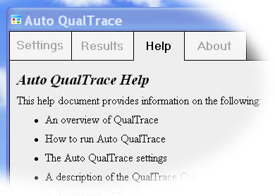 Auto QualTrace Help View
