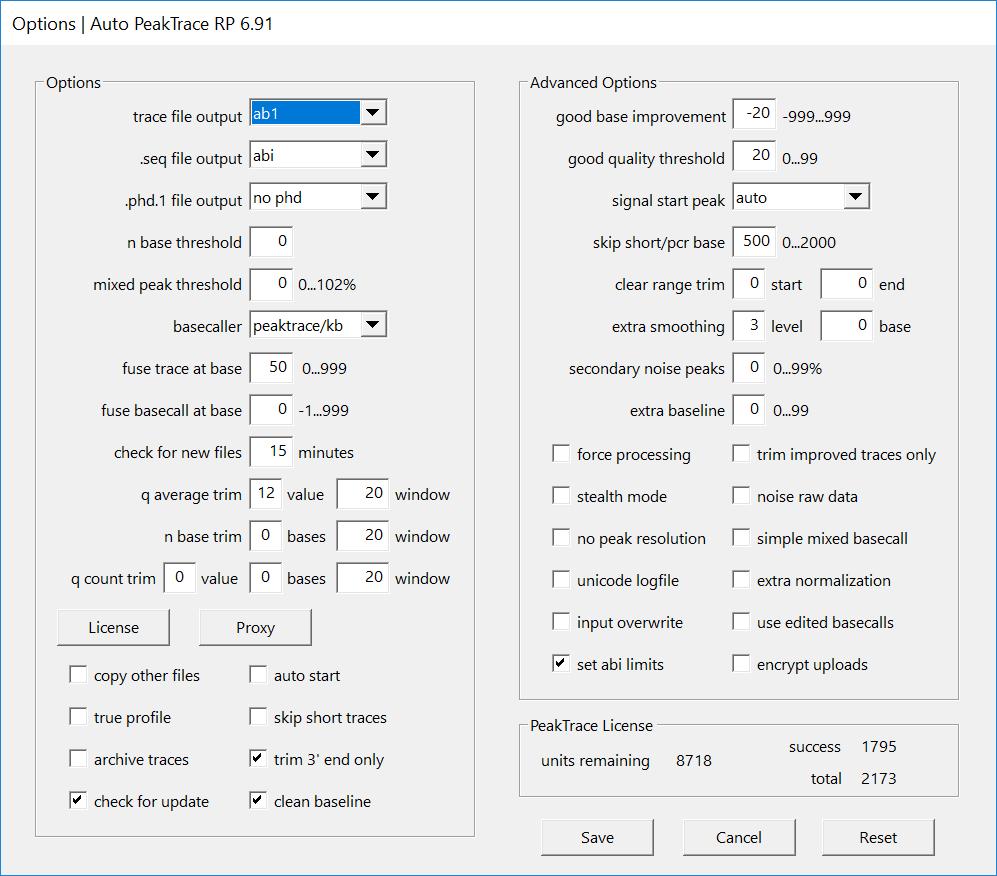 Auto PeakTrace RP Options