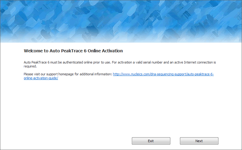 Auto PeakTrace Online Activation Step 1