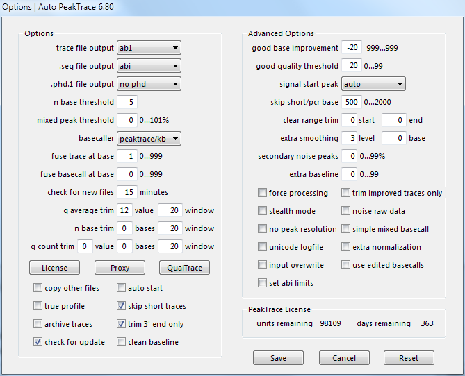 Auto PeakTrace 6.80 Options Window